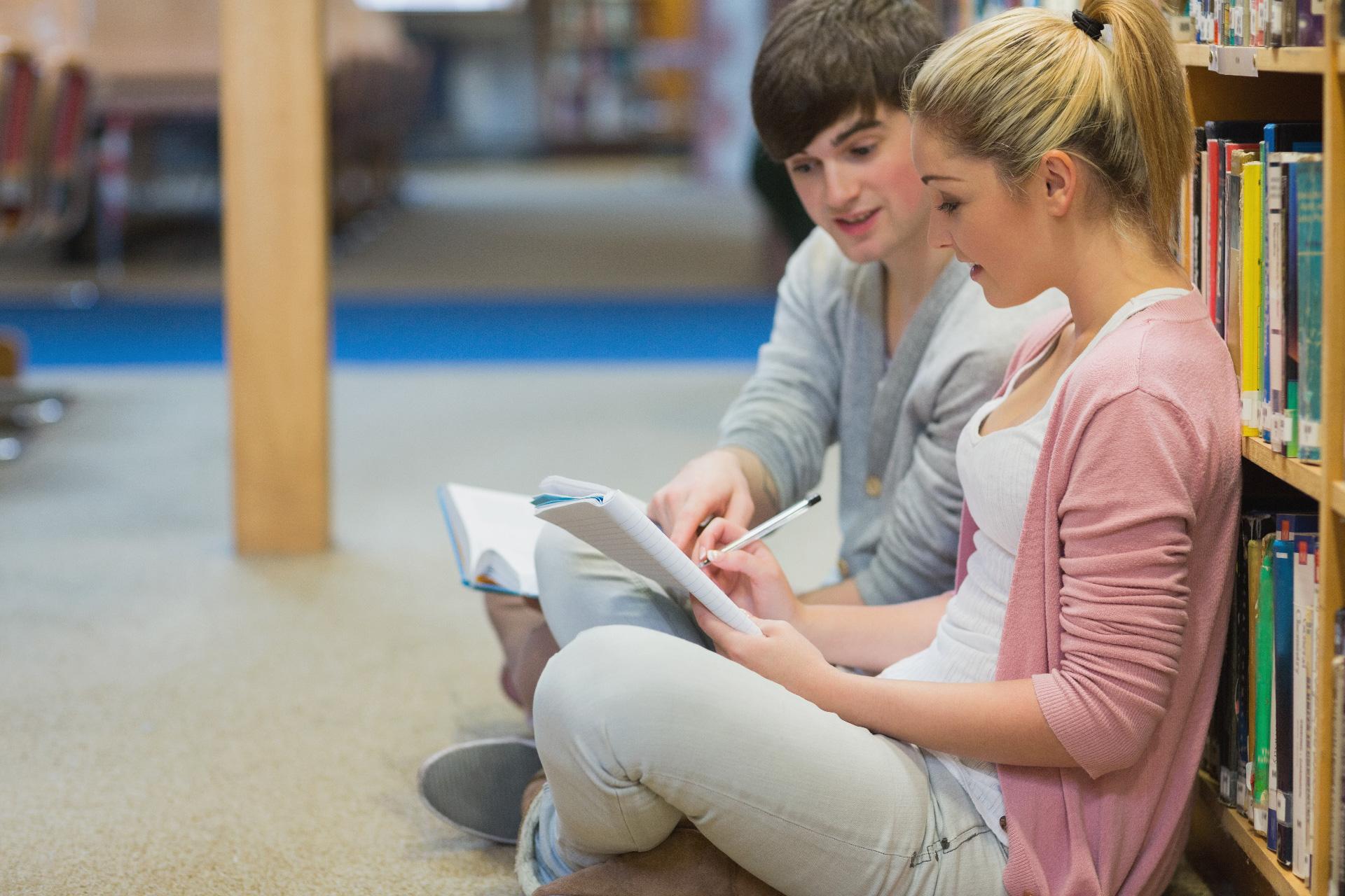 studenti v knihovně univerzity v Dánsku